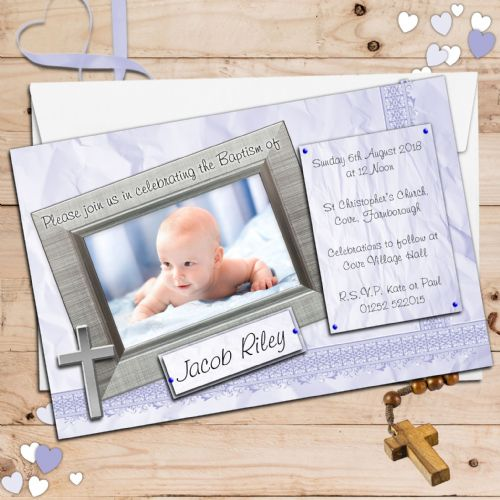 10 Personalised Boys Christening Baptism Invitations PHOTO Invites N84